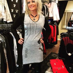 Grey and Black Tunic Dress