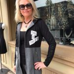 Tricotto Black & Grey Tunic with Zipper and Hood