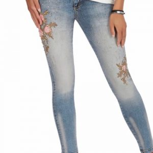 Tricotto Pink Embroidered Rose Jeans