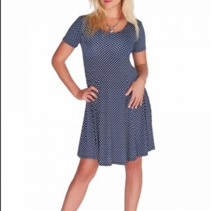 Tricotto Blue and White Polka Dot Dress