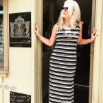 Tricotto Long Striped Gold Star Dress