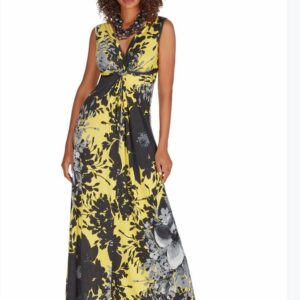 Black and Yellow Maxi Dress with Grey Flowers