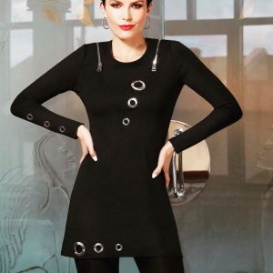 Black Dress with Silver Grommets